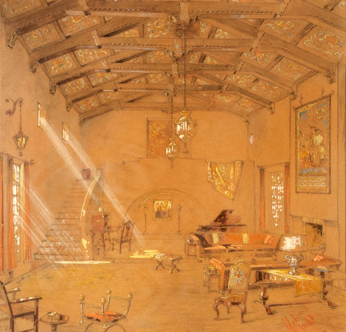 Continental School, 20th Century A view of a baronial hall, possibly San Simeon sight 21 1/4 x 21 1/4in