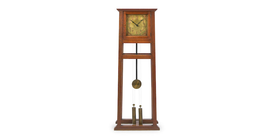 A rare Gustav Stickley oak and copper tall case clock