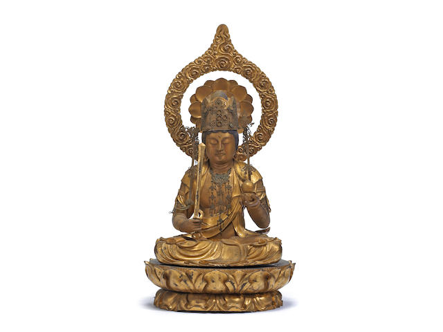 Large gilt wood figure of Kokuzo Bosatsu (Akasagarbha) Edo Period