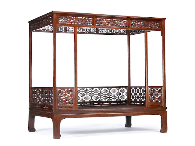 A huanghuali six poster canopy bed, Jiazichuang Qing Dynasty