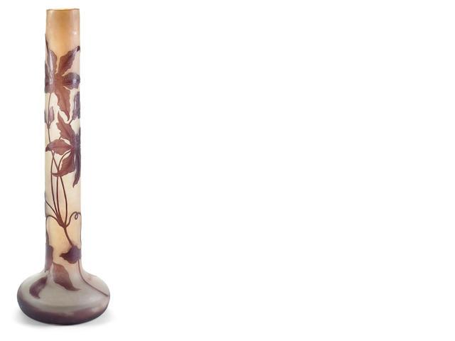 A Gallé cameo glass tall stickneck Clematis vase