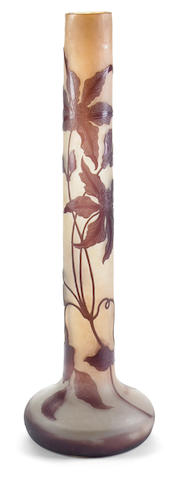 A Gallé cameo glass tall stickneck Clematis vase