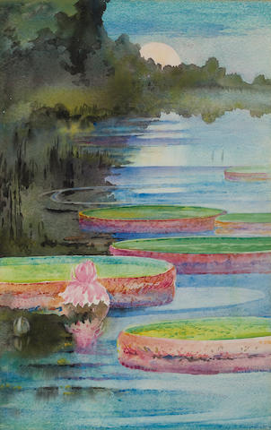 Alice Ravenel Huger Smith (American, 1876-1958) Moonrise over waterlillies 21 3/4 x 14 1/4in