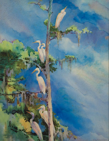 Alice Ravenel Huger Smith (American, 1876-1958) Snowy egrets in a tree 21 3/4 x 17in