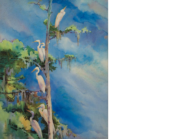 Cranes in a tree