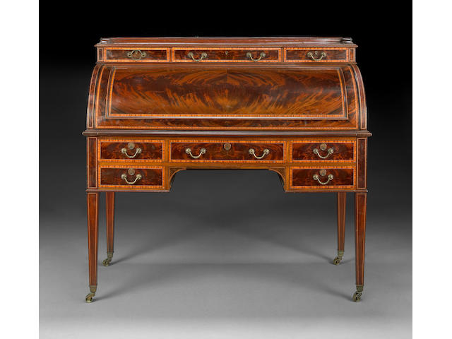 An English Regency style inlaid mahogany cylinder desk <br>Maple & Co.<br>first quarter 20th century