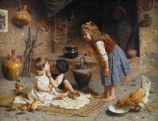 Eugenio Zampighi (Italian, 1859-1944) Baby's first kiss 20 x 25 1/2in