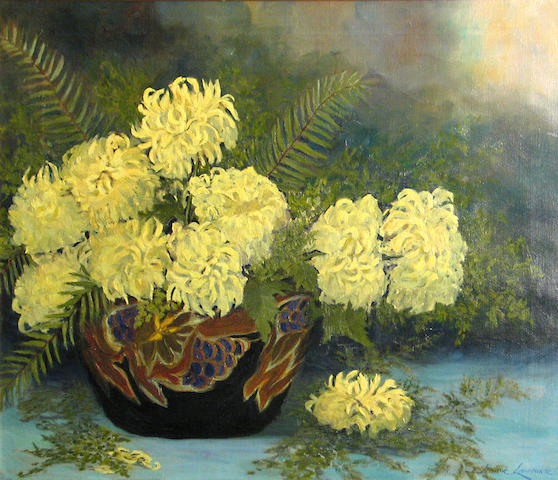 Jeanne Laurence (American, 1887-1980) Yellow chrysanthemums 20 x 24in