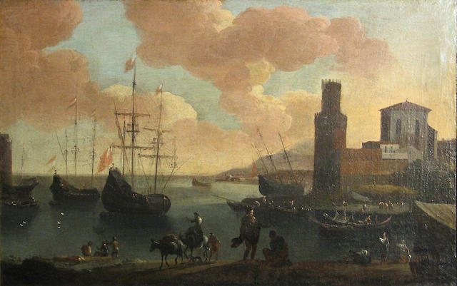 Circle of Adriaen van der Cabel (Ryswyck 1631-1705 Lyons) A busy harbour scene with figures in the foreground 18 1/2 x 28 3/4in