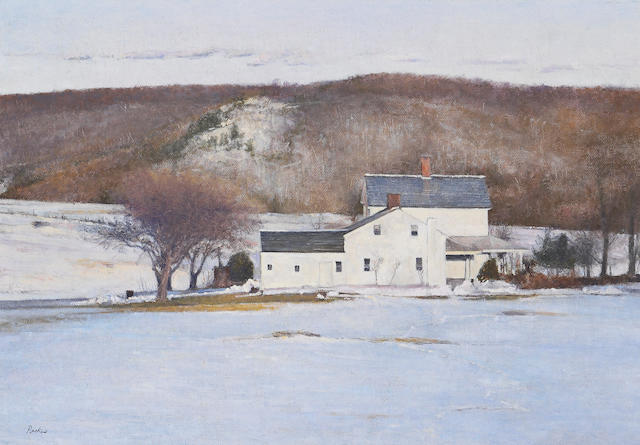 Peter Poskas (American, born 1939) Farmhouse in winter 12 1/4 x 17 1/2in