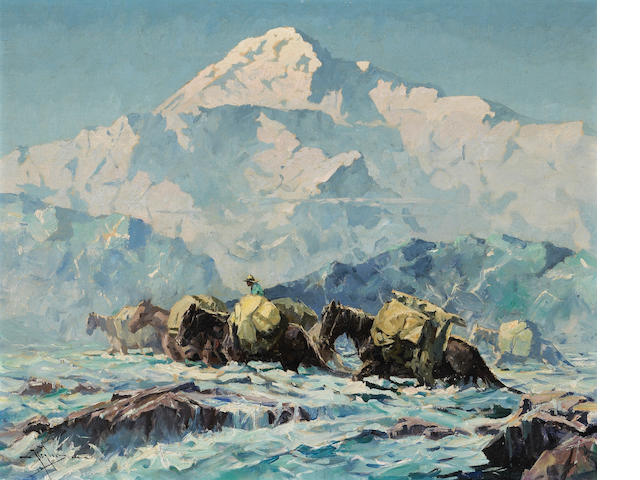 Eustace Paul Ziegler (American, 1881-1969) Mt. McKinley and Pack Horses