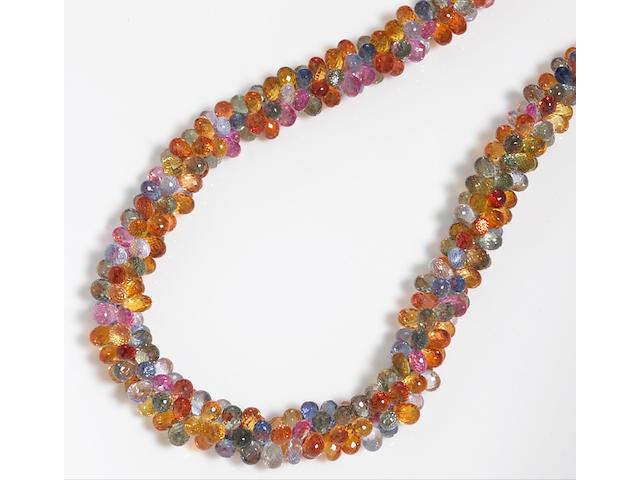 A multi-color sapphire and diamond necklace