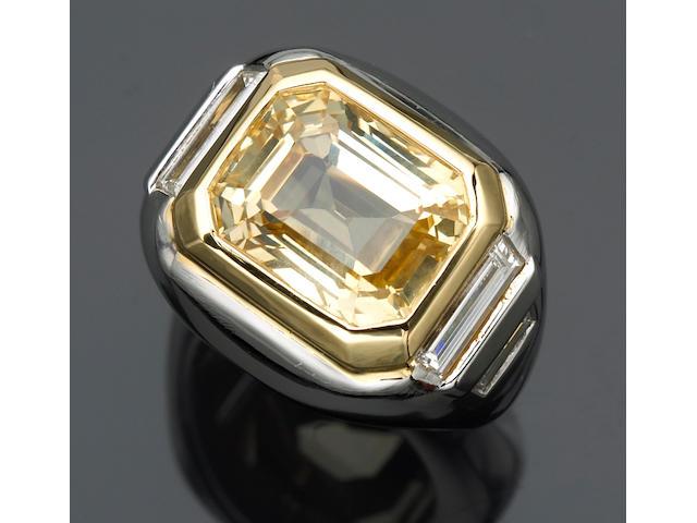 A yellow sapphire and diamond ring, Bulgari
