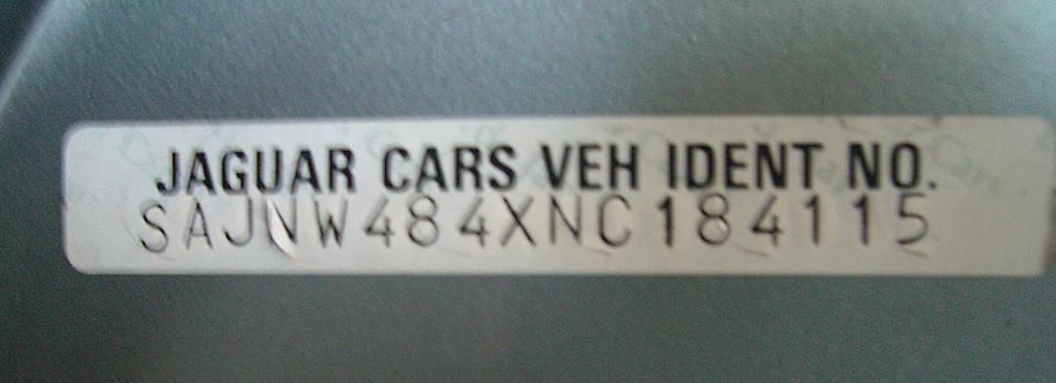 1992 Jaguar XJS Convertible  Chassis no. SAJNW484XNC184115