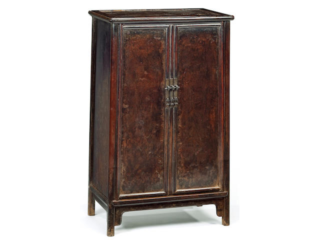 A huanghuali and cedar panel two-door cabinet, Yuanjiaogui 17th Century/18th Century