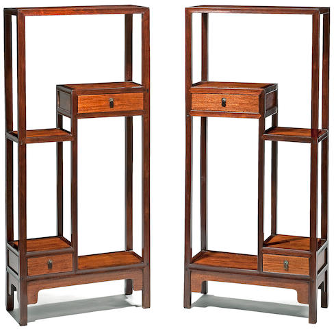 A pair of hongmu and huali ornament stands, Chenliepinjia 18th/19th Century
