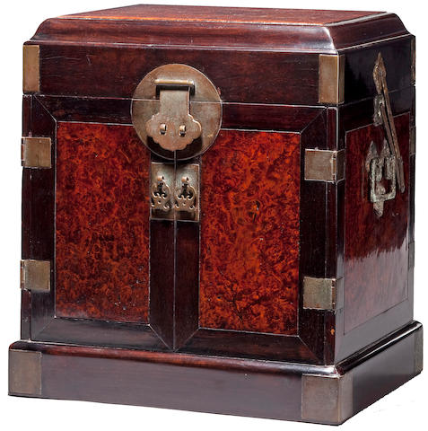 A fine and rare zitan and burlwood storage chest, Guanpixiang 18th Century