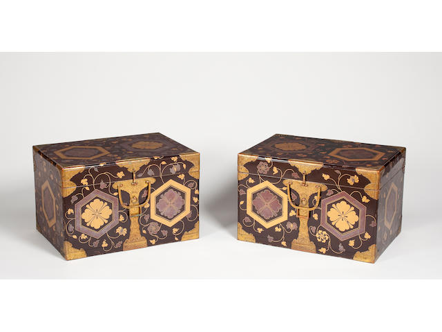 Pair of black lacquer storage boxes (hasami bako) 18th century