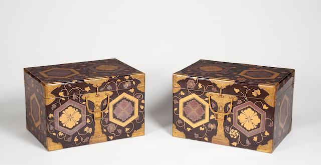 Pair of black lacquer storage boxes (hasami bako) 18th century