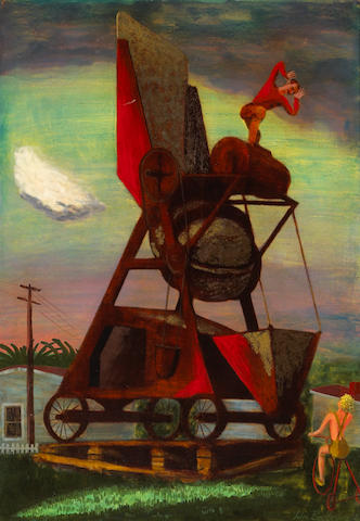 John Jules Billington (American, 1900-1972) Concrete Mixer, 1942 29 1/2 x 20 1/2in