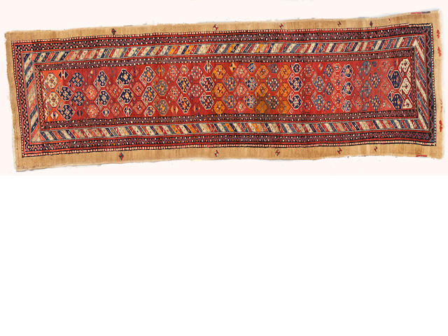 A Kurdish runner Caucasus, size approximately 3ft. 5in. x 10ft. 10in.