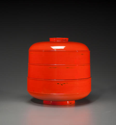 Red lacquer stacking food container 20th century