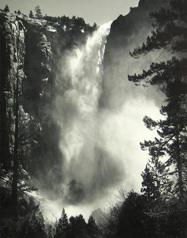 Ansel Adams (American, 1902-1984); Bridalveil Fall, Yosemite National Park;