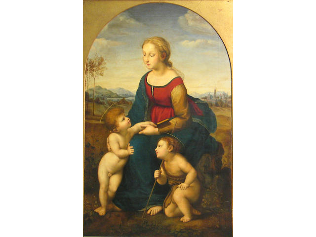 After Raffaello Sanzio, called Raphael La Belle Jardinière 48 x 31 1/2in