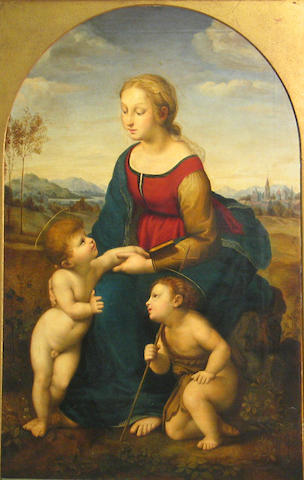 After Raffaello Sanzio, called Raphael La Belle Jardinière shaped top, 48 x 31 1/2in