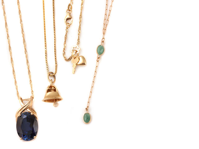 A collection of miscellaneous gold chains and gem-set pendants and findings
