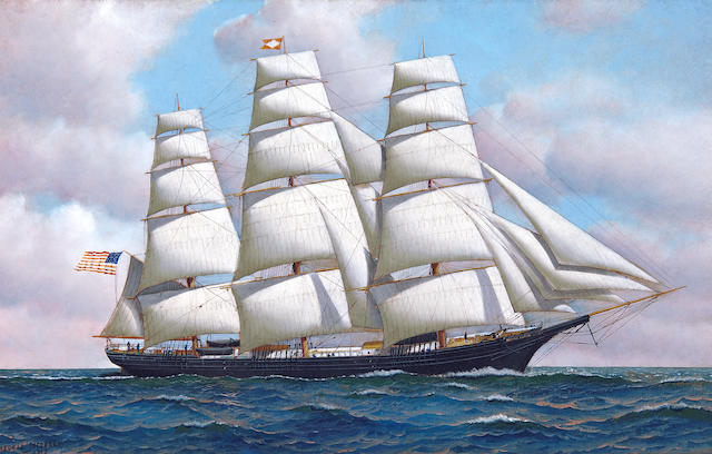 Antonio Nicolo Gasparo  Jacobsen (American, 1850-1921) The American clipper ship Flying Cloud at sea under full sail, 1913 20 x 32 in. (50.8 x 81.3 cm.)