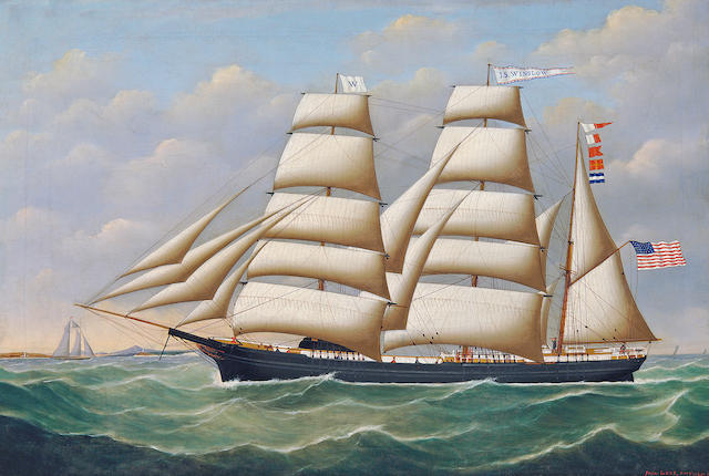John Frederick Loos (Belgian, mid/late 19th Century) The American bark J.S. Winslow at sea , 1870 20 1/2 x 30 1/4 in. (52.0 x 77.0cm.)