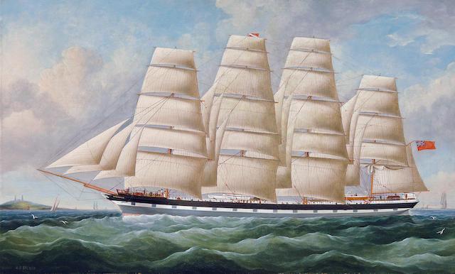 William Barnett Spencer (British, born circa 1810-died circa 1884) The British four-master Vanduara at sea under full sail 19 x 31 in. (48.3 x 78.7 cm.)