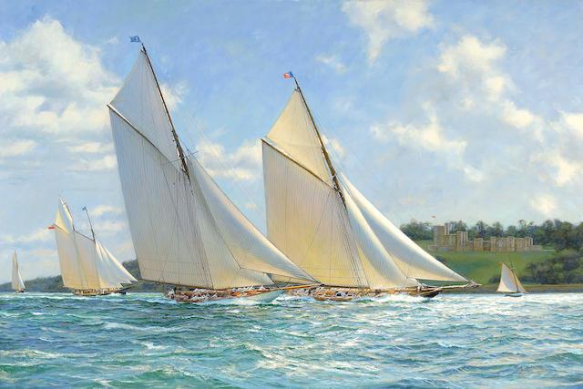 Anthony D. Blake (born New Zealand 1951) Britannia and Vigilant 27 x 40 in. (68.6 x 101.6 cm.)