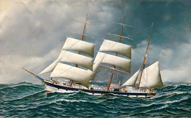 Antonio Nicolo Gasparo  Jacobsen (American, 1850-1921) The Norwegian bark Friedig at sea under reduced sail, 1903 22 x 36 in. (55.9 x 91.4 cm.)