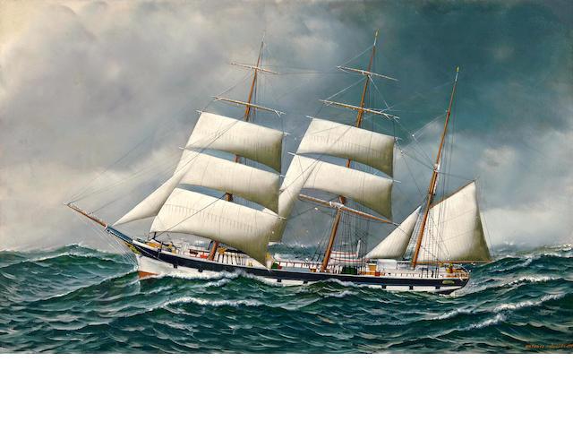 Antonio Nicolo Gasparo  Jacobsen (American, 1850-1921) Barke Freidig 22 x 36 in. (55.9 x 91.4 cm.)