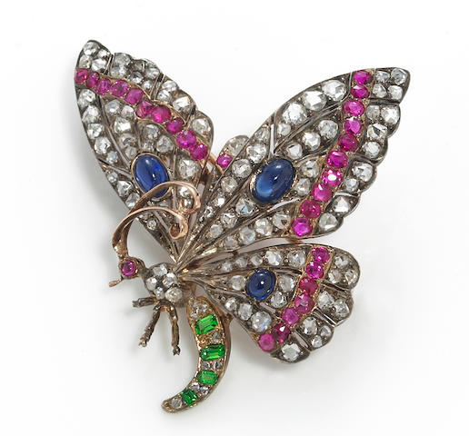 An antique diamond and gem-set butterfly brooch, French