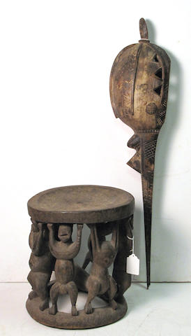 A Cameroon Grasslands figural stool and a Baga carving