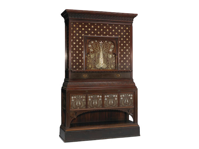 An Aesthetic carved rosewood and faux rosewood pewter, brass and mother of pearl inlaid collector's cabinet  New York fourth quarter 19th century