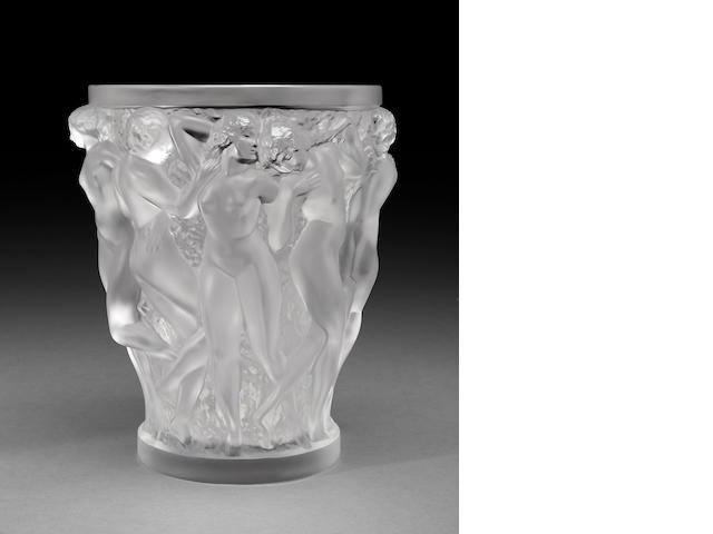 Cristal Lalique molded frosted glass vase: Bacchantes