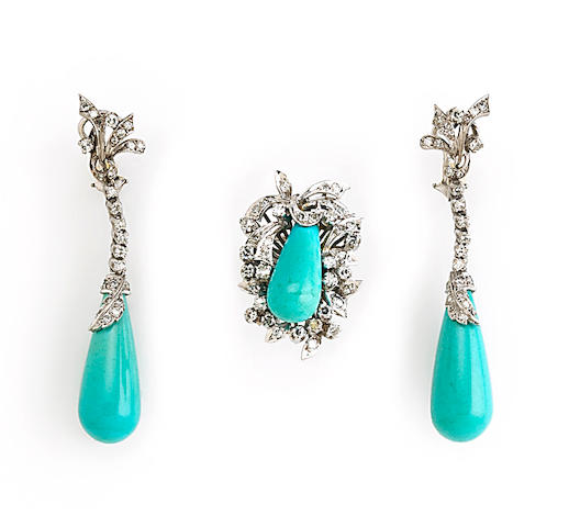 A turquoise and diamond jewelry set