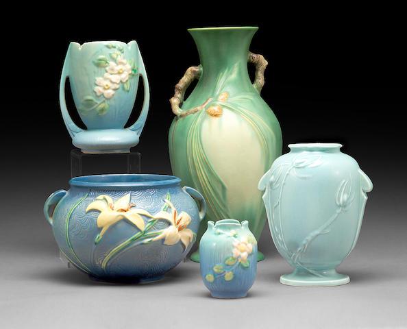 A group of five Roseville glazed earthenware vases  1920s