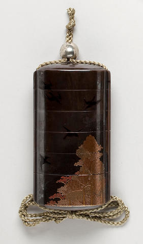 Large five-case lacquer inro  Kajikawa Family (19th century)