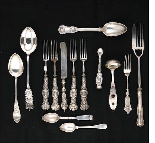 Continental Silver Flatware Group