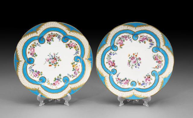 Two Sèvres porcelain plates  porcelain 18th century, decoration probably 19th century