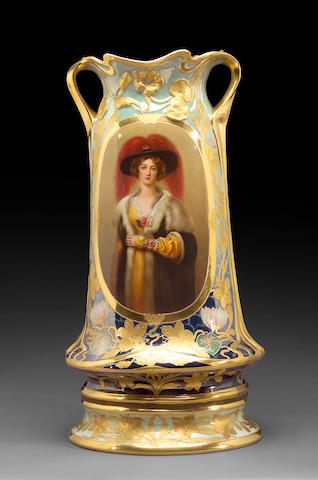 A Vienna style porcelain large two handled portrait vase <br>late 19th/early 20th century