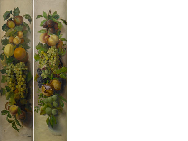 Hugh  Fletcher (British, active 1880-1920) A swag of various fruit; also a companion still life (a pair) each 41 x 10in