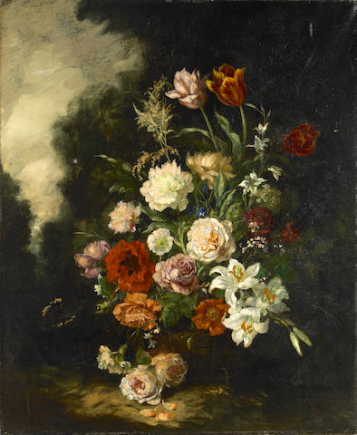 Continental School, 19th Century A still life of flowers and a butterfly 39 1/2 x 31 3/4in