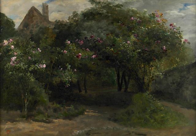Eugene Petit (French, 1839-1886) Le chemin aix arbres et fleurs 26 1/2 x 37 1/2in