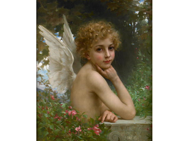 Jules Cyrille Cavé  (French, 1859-died circa 1940) L'ange pensif 25 x 20in